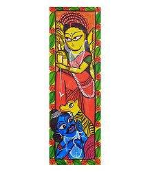 Kalighat Painting of Goddess Durga
