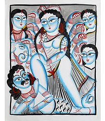 Kalighat Painting of Devi Durga