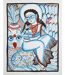 Kalighat Painting of Goddess Lakshmi