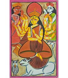 Goddess Durga with Lakshmi and Saraswati
