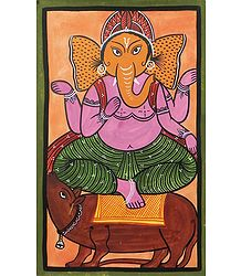 Lord Ganesha - Kalighat Painting on Paper