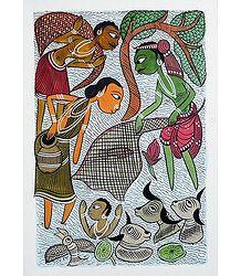 Fishing at the Village Pond - Kalighat Painting