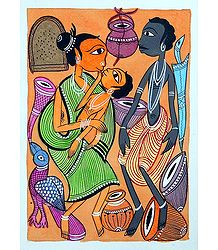 Tribal Family - Shop Online Kalighat Painting