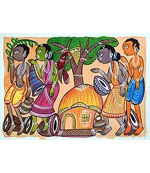 Tribal Festival - Shop Online Kalighat Painting