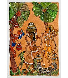Villagers Collecting Date Palm Sap - Kalighat Painting