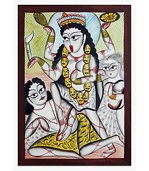 Shop Online Kalighat Painting of Goddess Kali
