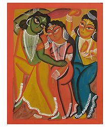 Kalighat Painting of Ram Lakshman and Sita