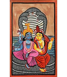 Vishnu and Lakshmi - Buy Kalighat Painting