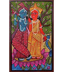 Radha Krishna - Kalighat Painting