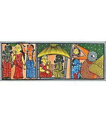 Ramayana Katha - Kalighat Painting
