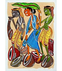 Tribal Musicians - Buy Kalighat Painting