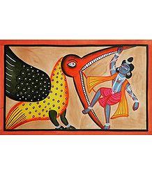 Krishna Killing Vakasur - Kalighat Painting
