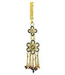Stone Studded and Laquered Flower Chabbi Challa with Beaded jhalar