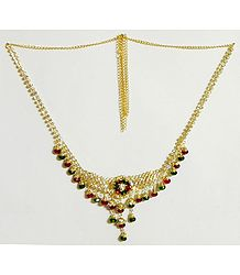 White Stone Studded and Gold Plated Jhalar Kamarband with Red and Green Crystal Bead