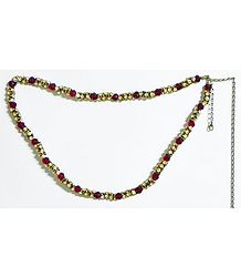 White Stone Studded Kamarband with Red Crystal Beads