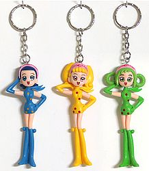 Key Rings with Plastic Dolls