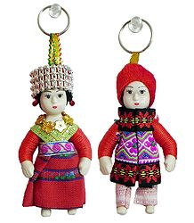 Set of 2 Cute Doll Key Rings