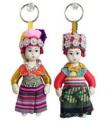 Set of 2 Dutch Costume Doll Key Rings