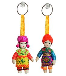 Set of 2 MIniature Costume Doll Key Rings