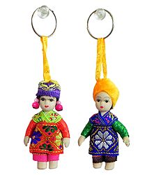 Set of 2 European Costume Doll Key Rings