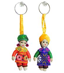 Set of 2 Folk Dancers Doll Key Rings