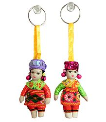 Scottish Dancers Doll Key Rings