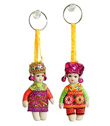 Set of 2 Costume Doll Key Rings