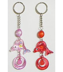 Set of 2 Acrylic Dolphin Key Rings