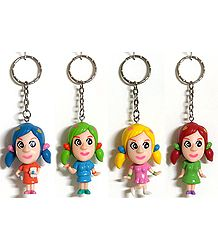 Set of 4 Synthetic Key Ring