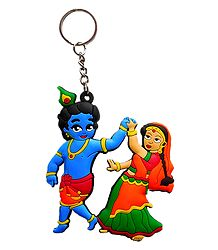PVC Key Chain with Radha Krishna