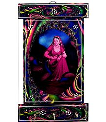Radha Print on Wooden Key Rack with Three Hooks - Wall Hanging