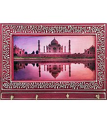 Taj Mahal Print on Wooden Key Rack