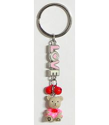 Metal Key Ring with Acrylic Teddy Bear