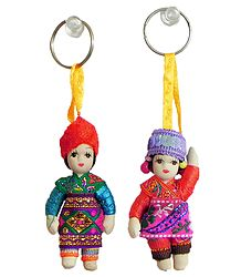 Set of 2 Bulgarian Dancers Doll Key Rings