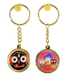 Double Sided Metal Jagannath Key Ring