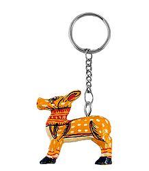 Wooden Deer Key Chain