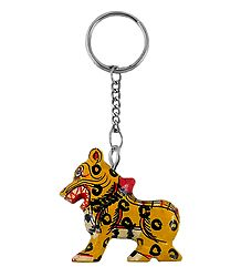 Wooden Tiger Key Chain