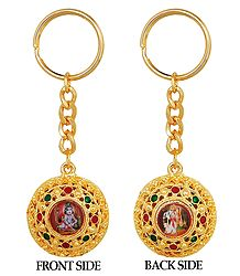 Double Sided Key Ring - Bal Gopal and Radha Krishna