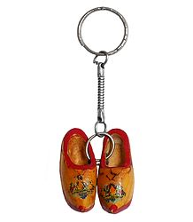 Metal Key Chain with Wooden Shoes