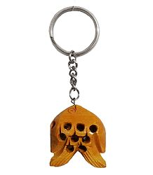 Metal Key Chain with Wooden Fish