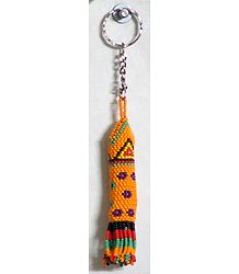 Saffron Beaded Octopus Key Chain
