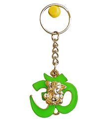 Acrylic Ganesha on Om Key Chain