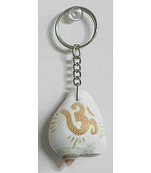 Om Carved Shell Key Ring