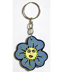 Wooden Flower Key Chain