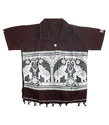 Dark Brown Half Sleeve Short Kurta with Baluchari Design for Young Boy