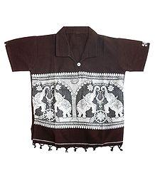 Brown Short Kurta with Baluchari Design for Young Boy
