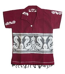 Dark Red Half Sleeve Short Kurta with Baluchari Design for Young Boy