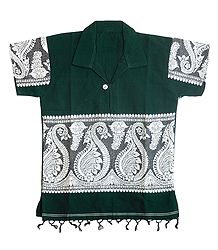 Dark Green Half Sleeve Short Kurta with Baluchari Design for Young Boy