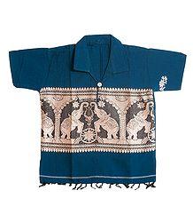 Blue Short Kurta with Baluchari Design