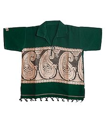Green Short Kurta with Baluchari Design for Baby Boy